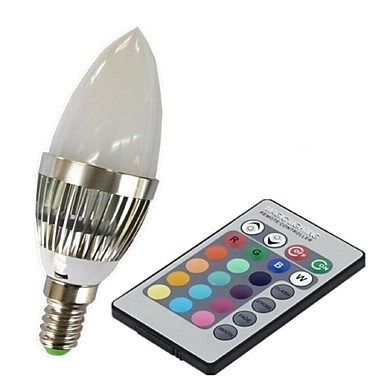 3W 100-230lm E14 Smart LED-lampe C35 1 LED perler Høyeffekts-LED Fjernstyrt RGB 85-265V