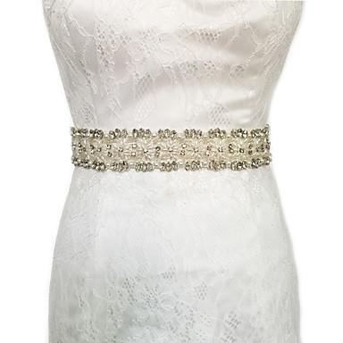 Satin Hochzeit Party / Abend Alltagskleidung Schärpe With Strass Perlenstickerei Perle Paillette Applikationen Damen Schärpen