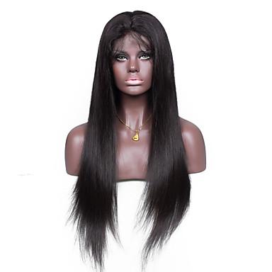 Ekte hår Helblonde Parykk Rett 120% tetthet 100 % håndknyttet Afroamerikansk parykk Naturlig hårlinje Kort Medium Lang Dame