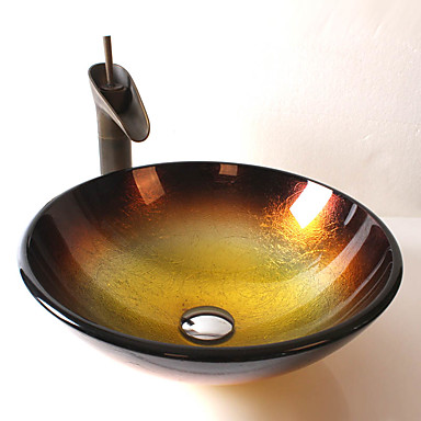 Clássica Redondo material dissipador é Vidro Temperado Pia de Banheiro Torneira de Banheiro Anél de Instalação de Banheiro Dreno de