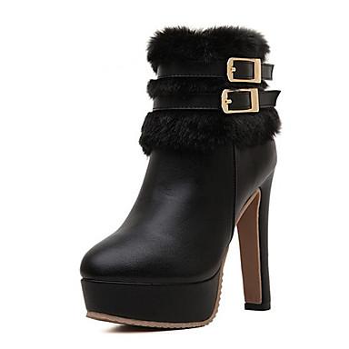 Støvler-Kunstlæder-Ridestøvler-Dame-Sort-Udendørs-Stilethæl