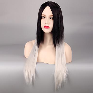 Pelucas sintéticas Recto Ombre Pelo sintético Pelo Ombre Ombre Peluca Mujer Sin Tapa Blanco