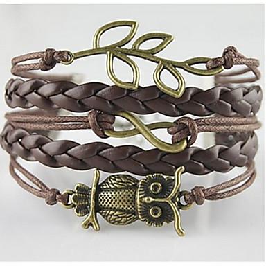 Herre Dame Ugle Vevet Armband Sjal Armbånd - Bohemsk Justerbare Dobbelt lag Geometrisk Form LOVE Anker Brun Armbånd Til Daglig Avslappet