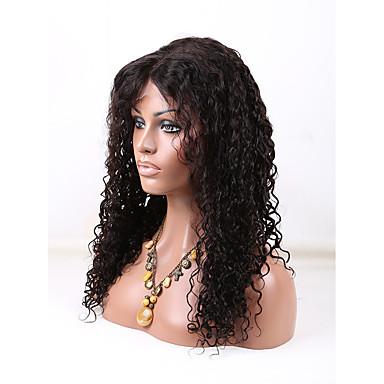 Kvinder Blondeparykker med menneskehår Ekte hår U-del 130% tetthet Krøllet Parykk Jet Svart Svart Mørkebrun Mellombrun Naturlig Farge
