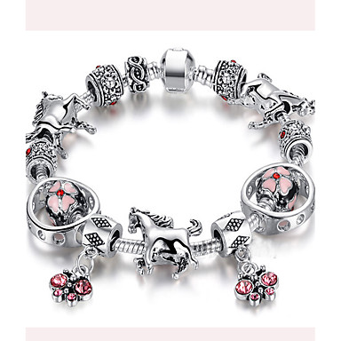 Dame Par Piger´ Charm-armbånd Strand Armbånd Holdbar Mode Boheme Stil Rustfrit Stål Cirkelformet Hvid Sort Lys pink Smykker ForBryllup