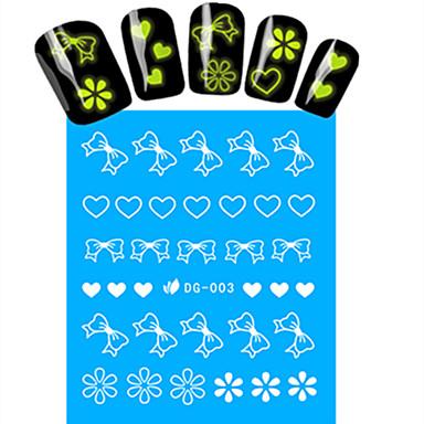 1 Neglekunst klistremerke Vannoverføringsklistre Hel Negle Tipper Blomst Tegneserie Smuk Lyse I Mørke Sminke Kosmetikk Neglekunst Design