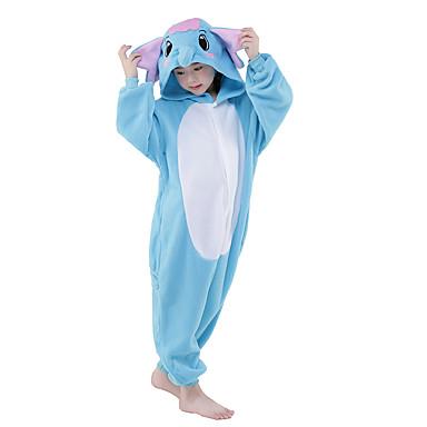 Pijama Kigurumi Elefant Pijama Întreagă Costume Flanel Lână Albastru Cosplay Pentru Pentru copii Sleepwear Pentru Animale Desen animat