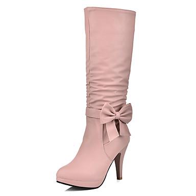 Damen Schuhe Kunstleder Herbst / Winter Modische Stiefel Stiefel Stöckelabsatz 30.48-35.56 cm / Mittelhohe Stiefel Schleife Schwarz /