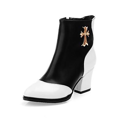 Støvler-Kunstlæder-Modestøvler-Dame-Sort Blå Rød-Udendørs Kontor Fritid-Tyk hæl