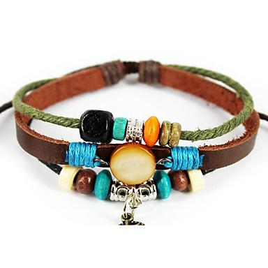 Damen Ketten- & Glieder-Armbänder Lederarmbänder Edelstein Naturschwarz Liebe Modisch Perlenbesetzt Leder Kreisform Herzform Schwarz
