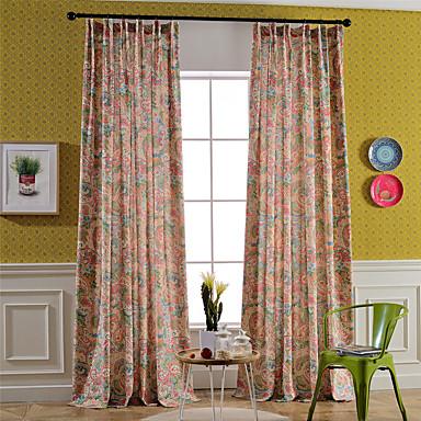 Dois Painéis Tratamento janela Rústico / Moderno / Neoclassicismo / Mediterrêneo / Europeu , Floral / Botânico / Folha QuartoMistura de