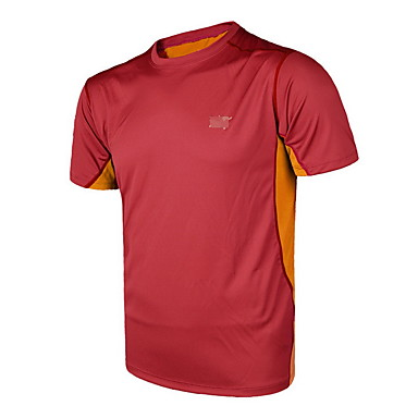 Herre Løbe-T-shirt Kortærmet Åndbart Toppe for Træning & Fitness Fritidssport Badminton Cykling/Cykel Løb Polyester Stram Sort Rød Grøn