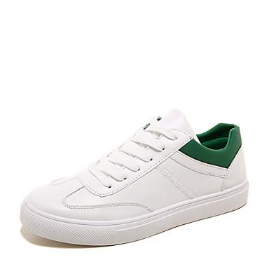 Sneakers-KunstlæderHerre-Sort Grøn Hvid-Fritid-Flad hæl