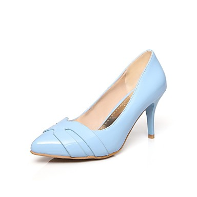 Feminino-Saltos-Saltos / Bico Fino-Salto Agulha-Azul / Rosa / Amêndoa-Couro Envernizado-Escritório & Trabalho / Casual