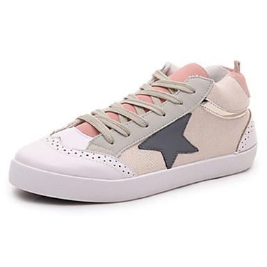 Dames Sneakers Comfortabel Canvas Herfst Causaal Wandelen Comfortabel Veters Platte hak Blauw Roze Plat