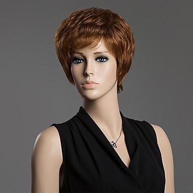 cauda em linha reta para cima estrondo lado spiffy peruca de cabelo curto fofo humana para as mulheres
