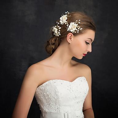 Imitatieparel Strass Legering Hoofddeksels Hiusnauha with Bloemen 1pc Bruiloft Speciale gelegenheden Causaal Helm