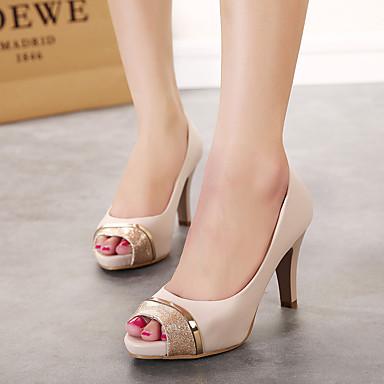 Mulheres Sapatos Microfibra Verão Saltos Salto Agulha Nú