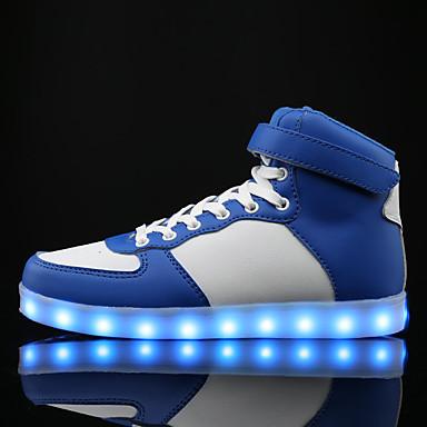 Feminino Sapatos Sintético Primavera Verão Outono Inverno Conforto Tênis Caminhada Sem Salto Cadarço Para Casual Branco Preto Azul