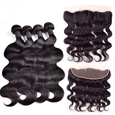 Brasiliansk hår Krop Bølge Menneskehår Vævninger 4 Dele Hårstykke med lukning