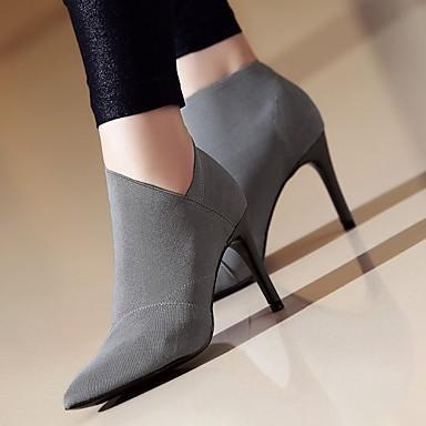 Negro hasta Botas Tobillo PU Botas Otoño Zapatos Mujer el Tacón Gris 05304454 Invierno Stiletto BwaZUxPnq