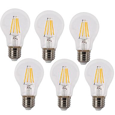 6pcs 4W 400lm E26 / E27 LED-glødepærer A60(A19) 4 LED perler COB Vanntett Dekorativ Varm hvit Kjølig hvit 220-240V