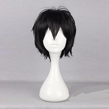 Synthetische Perücken Locken Stufenhaarschnitt Schwarz Damen Kappenlos Cosplay Perücke Synthetische Haare