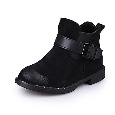 Støvler-Ruskind-Komfort Ankelstøvler-Piger-Sort Rød-Udendørs Fritid Sport-Lav hæl