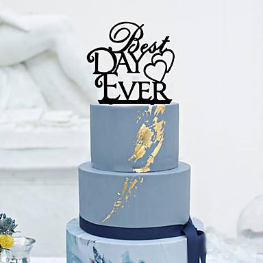 Decorações de Bolo Tema Clássico Casal Clássico Acrílico Casamento com Flor 1pcs Caixa de Ofertas