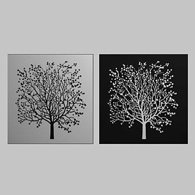 Imprimeu pânză întins Set Canava Botanic Două Panouri Orizontal Imprimeu Decor de perete Pagina de decorare