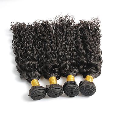 Echt haar Braziliaans haar Menselijk haar weeft Gekruld Krullend Weave Haarextensions 4-delig Zwart