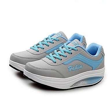 Dames Sneakers Lente Herfst Comfortabel Kunstleer Buiten Casual Hak Creepers Veters Zwart Blauw Roze