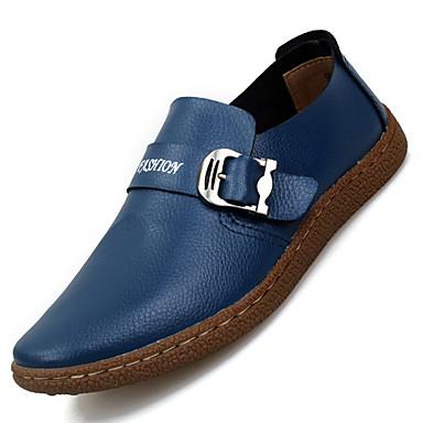 Masculino sapatos Couro Pele Primavera Verão Outono Inverno Conforto Mocassins e Slip-Ons Para Casual Preto Marron Azul
