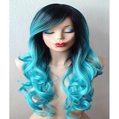Pelucas sintéticas / Pelucas de Broma Rizado Con flequillo Pelo sintético Pelo Ombre / Raíces oscuras / Parte lateral Azul Peluca Mujer Larga