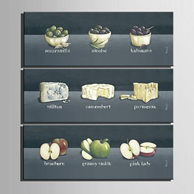 Botânico / Comida e Bebida Impressão em tela 3 Painéis Pronto para pendurar , Vertical