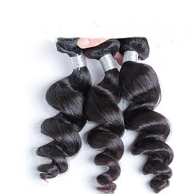 Cabelo Humano Cabelo Indiano Cabelo Humano Ondulado Ondulação Larga Extensões de cabelo 3 Peças Preto