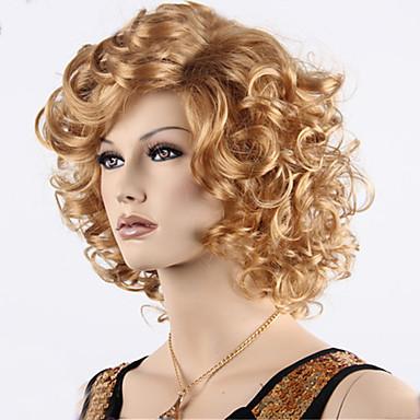 Synthetische Perücken Locken Blond Mit Pony Synthetische Haare Gefärbte Haarspitzen (Ombré Hair) / Seitenteil Blond Perücke Damen Kurz Kappenlos
