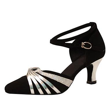 Damen Schuhe für den lateinamerikanischen Tanz / Schuhe für modern Dance Beflockung Sandalen / Absätze Schnalle Maßgefertigter Absatz