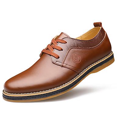 Homens sapatos Pele Primavera Outono Conforto Oxfords Caminhada Cadarço para Casamento Escritório e Carreira Preto Marron