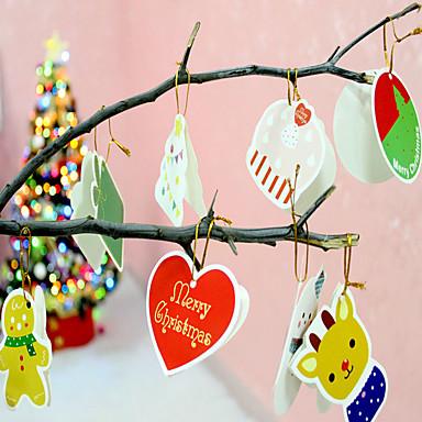 14PCS / cortinas natal lote desenho Cartão de Natal presente de Natal decoração da árvore