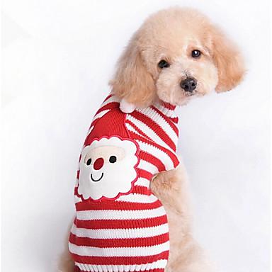 Kat Hond Truien Hondenkleding Gestreept Rood Wollen Kostuum Voor huisdieren Heren Dames Schattig Nieuwjaar Kerstmis