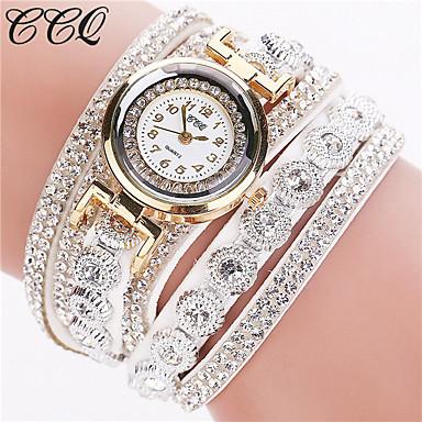 cheap Women's Luxury Watches-Women's Ladies Luxury Watches Bracelet Watch Diamond Watch Quartz Wrap Leather Black / White / Silver Imitation Diamond Analog Sparkle Fashion Bling Bling - Pink Light Blue Khaki One Year Battery Life
