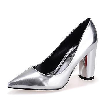 Feminino Saltos Conforto Couro Envernizado Verão Casual Conforto Salto Grosso Preto Prata Cinzento Vermelho 7,5 a 9,5 cm