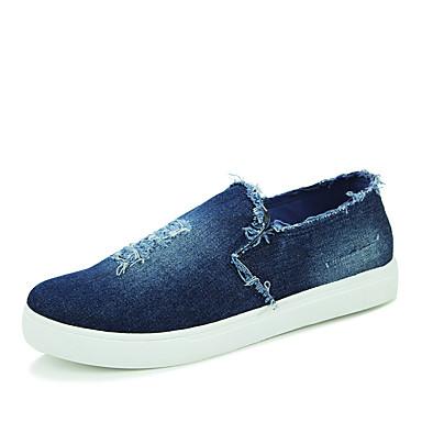 Unissex Sapatos Lona Outono Conforto Mocassins e Slip-Ons Sem Salto Para Casual Preto Azul Escuro Azul