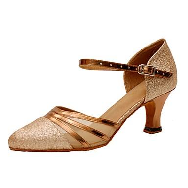 Mulheres Latina Moderna Glitter Sandália Salto Interior Profissional Gliter com Brilho Presilha Salto Personalizado Dourado 1