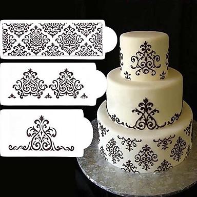 3 stk blonde blomst kage stencil kage cookie fondant side bryllup dekoration bagning værktøj