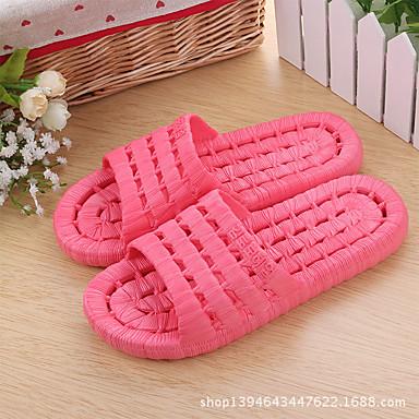 Damer Tøfler & Klip Klapper Komfort PVC Forår Sommer Efterår Vinter Afslappet Komfort Flad hæl Gul Rosa Fersken Blå Lys pink Flad