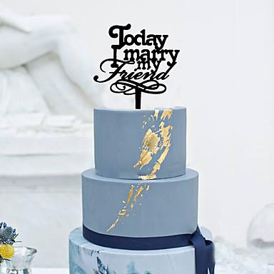 Tortenfiguren & Dekoration Klassisch Monogramm Acryl Hochzeit mit Blume 1pcs Geschenkbox