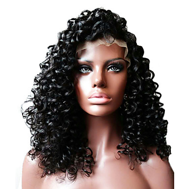 Ekte hår Helblonder uten lim / Halvblonder uten lim / Helblonde Parykk Krøllet Parykk 130% / 150% Naturlig hårlinje / Afroamerikansk parykk / 100 % håndknyttet Dame Kort / Medium / Lang / Lokkløs