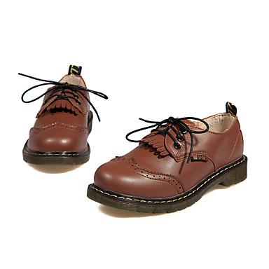 Feminino Sapatos Couro Ecológico Outono Conforto Oxfords Plataforma Ponta Redonda Cadarço Para Casual Preto Marron